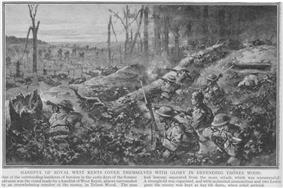 Monochrome image on newsprint type paper. Pen and charcoal sketch of helmeted British soldiers in lower right, aiming weapons both backwards and forwards. Some figures aiming towards advancing German figures in distance, advancing across destroyed vegetation