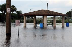 A park, with the river rising on a picnic pavilion and telephone pole. No ground is visible, only water.