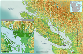 A map of Vancouver Island and the Lower mainland, with a dark patch showing Tsawwassen land