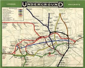 Map, titled London Underground Railways, showing the various lines of the underground system in central London, each in a different colour