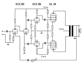 Schematic diagram of amplifier and speaker, with two tubes and an impedance-matching transformer