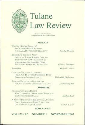 A typical Tulane Law Review cover.