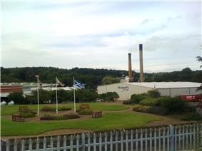 Papermills with chimney stacks
