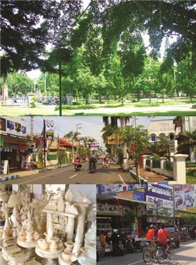 Top: Tulungagung Town Square (Indonesian: ''Alun-Alun Tulungagung''), Middle: Agus Salim Road (Indonesian: ''Jalan Agus Salim''), Bottom left: Tulungagung marble craft, Bottom right: Basuki Rahmad Road (Indonesian: ''Jalan Basuki Rahmad'')