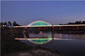 Tunga Bridge with Lightings during Theppotsava