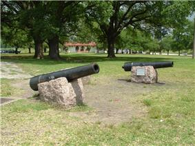 Replicas of the Twin Sisters cannons at San Jacinto Battleground State Historic Site
