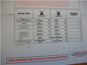 Voting ballot.