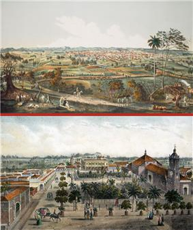 Two views of Santa Clara painted by Leonardo Barañano and lithographed by famous French-Cuban artist Eduardo Laplante in 1858. Work appeared in the collections