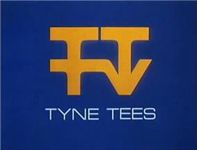 An arrangement of the letters TTTV in yellow on a blue background.