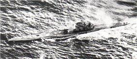 A Type IXB submarine, believed to be U-106, under attack by a Sunderland flying boat