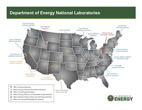 Map of the 17 DOE National Laboratories in 2010.