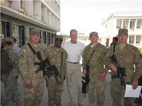 U.S. Senator Jerry Moran with Kansans serving in Afghanistan in April 2011.