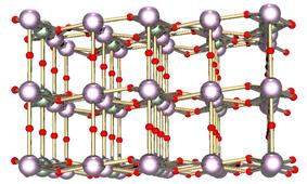 Ball and stick model of layered crystal structure containing two types of atoms.