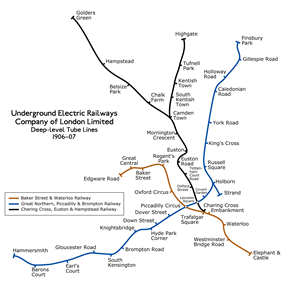 The routes of the UERL's three tube lines are shown: Baker Street and Waterloo Railway in brown, Charing, Cross, Euston and Hampstead Railway in black and Great Northern, Piccadilly and Brompton Railway in blue
