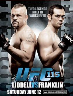 A poster or logo for UFC 115: Liddell vs. Franklin.
