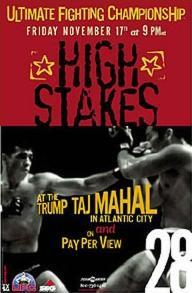 A poster or logo for UFC 28: High Stakes.