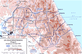 Diagram of the UN Counteroffensive between February and April 1951, details the United Nations advance as described in the text