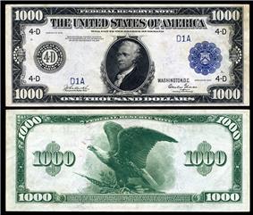 $1,000 Federal Reserve Note, Series 1918, Fr.1133d, depicting Alexander Hamilton.