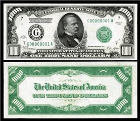 $1,000 Federal Reserve Note, Series 1928, Fr.2210g, depicting Grover Cleveland.