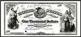 $1,000 Interest Bearing Note, Series 1863, Fr.201, depicting vignettes of Justice and Liberty.