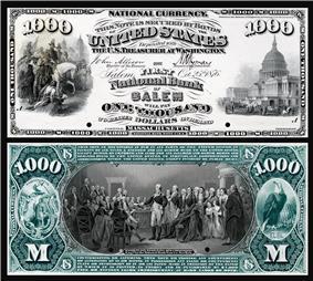 $1,000 National Bank Note proof, Series 1875, Fr.465, vignette depicting (obv) Scott's entrance into Mexico City (rev) Washington surrendering his commission.