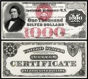 $1000 Silver Certificate, Series 1878, Fr.346a, depicting William Marcy
