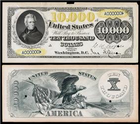 $10,000 Legal Tender note proof, Series 1878, Fr.189, depicting Anderw Jackson.