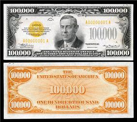 $100,000 Gold Certificate, Series 1934, Fr.2413, depicting Woodrow Wilson.