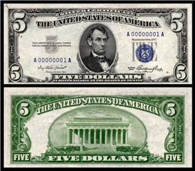 $5 Silver Certificate, Series 1953, Fr.1655, depicting Abraham Lincoln