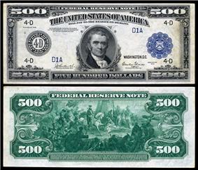 $500 Federal Reserve Note, Series 1918, Fr.1132d, depicting John Marshal.