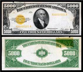 $5,000 Gold Certificate, Series 1928, Fr.2410, depicting James Madison.