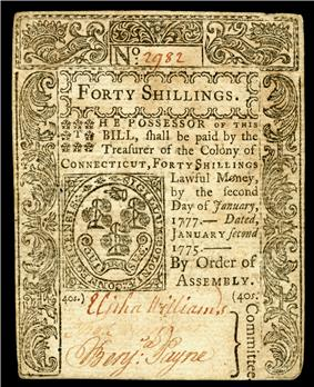 Connecticut colonial currency, 40 shillings, 1775 (obverse)