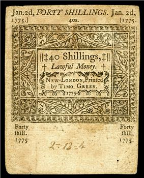 Connecticut colonial currency, 40 shillings, 1775 (reverse)