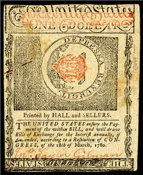 New Hampshire colonial currency, 1 dollar, 1780 (reverse)