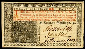 New Jersey colonial currency, 12 shilling, 1776 (obverse)