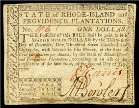 Rhode Island colonial currency, 1 dollar, 1780 (obverse)
