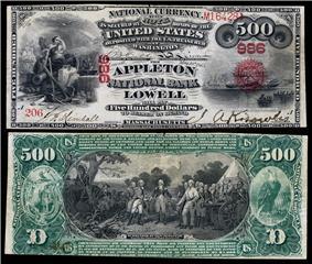 $500 National Bank Note, Original Series, Fr.464, vignette depicting Civilization; Sirius arriving in New York (obv); Surrender of General Burgoyne (rev).