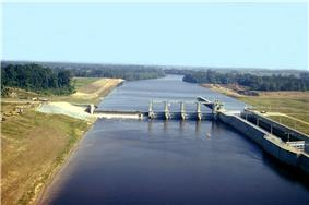 A lock and dam on a medium-sized river