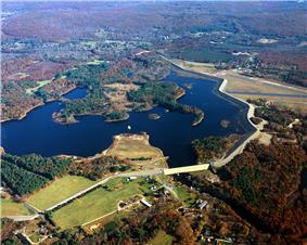 Lake and dam aerial view