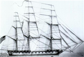 A black and white drawing of a ship's sails. The ship has 3 masts in which all sails are set and full of wind. The bow of the ship is pointed to right of the frame.