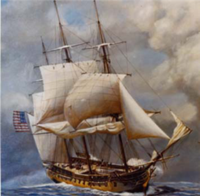 A painting of a sailing ship at sea. The ship has two masts and the sails are reefed while firing upon with another ship. The ship is sailing toward lower right hand corner of the frame.