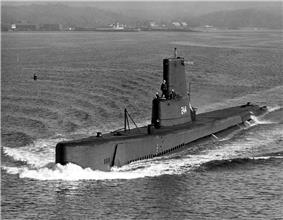 Cavalla, possibly making her way to the International Naval Review, 1957.