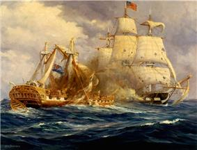 A painting depicts two ships at battle. Constitution is at the right of the frame with torn sails. Guerriere is in the middle of the frame with damaged masts and a lot of cannon smoke around her deck.
