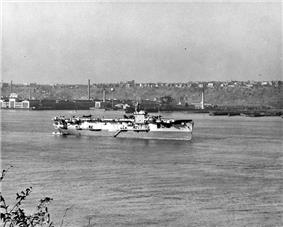 USS Croatan anchored in the Hudson River, off New York City c. late October 1945