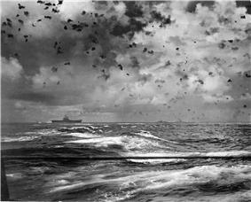 The aircraft carrier Hornet under attack