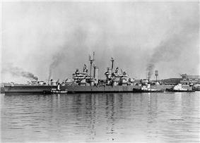 USS Galveston (CL-93) at Cramp shipyard 1946.jpg