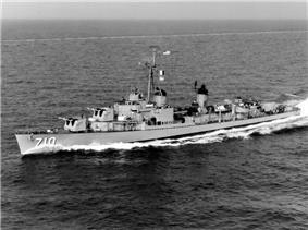 USS Gearing (DD-710) in the Mediterranean Sea in 1960.