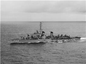 USS Harry E. Hubbard (DD-748) underway in August 1952