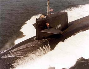 USS Henry L. Stimson (SSBN-655) underway, 12 July 1984.