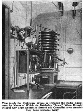 Black-and-white picture of a cabin. In a corner, intricate apparatus is mounted on a wall above a desk
